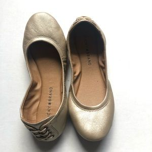 Lucky Brand gold ballet flats leather soft 7 ECHO2